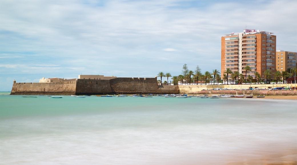 La Caleta Strand som omfatter en kystby og udsigt over kystområde