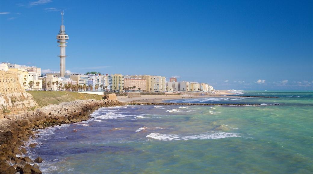 Cádiz mostrando litoral accidentado y vistas de una costa