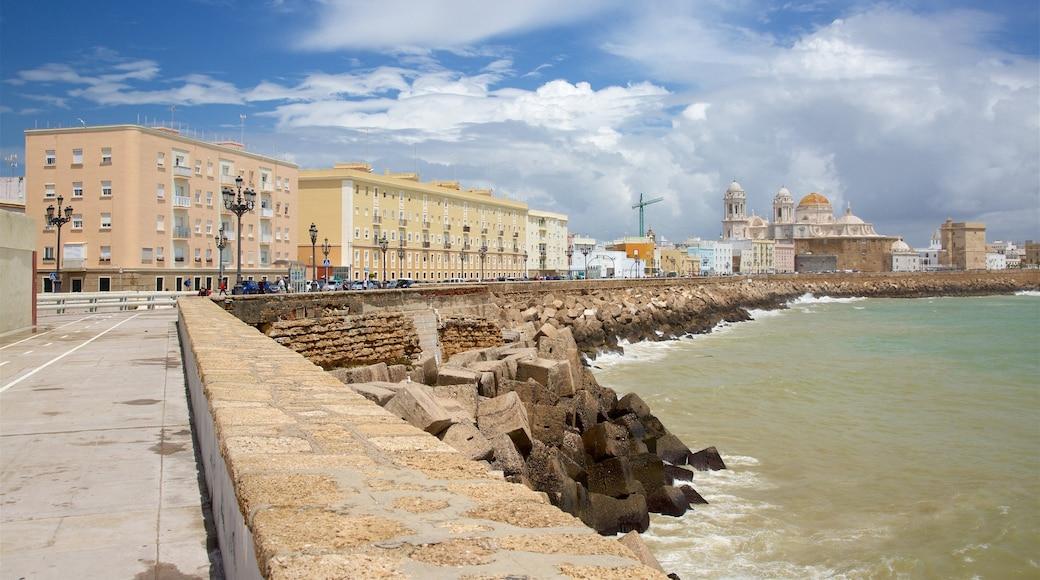 Cádiz mostrando litoral rocoso y una localidad costera