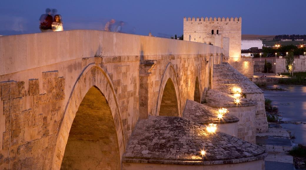 Puente romano mostrando escenas nocturnas, elementos patrimoniales y un puente