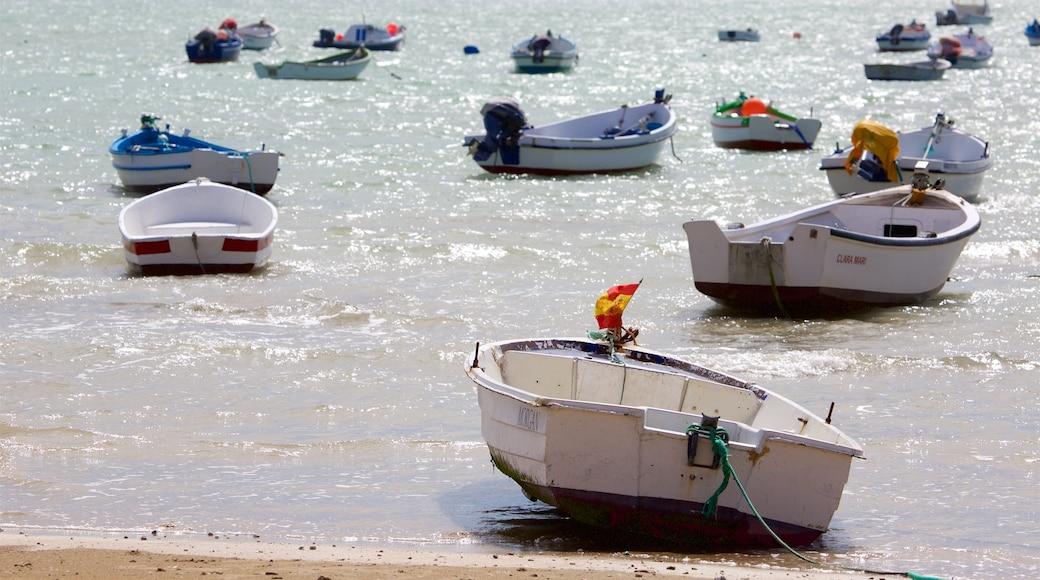 La Caleta Strand welches beinhaltet Bootfahren und allgemeine Küstenansicht