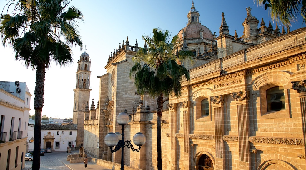 Kathedrale von Jerez welches beinhaltet Straßenszenen und Kirche oder Kathedrale