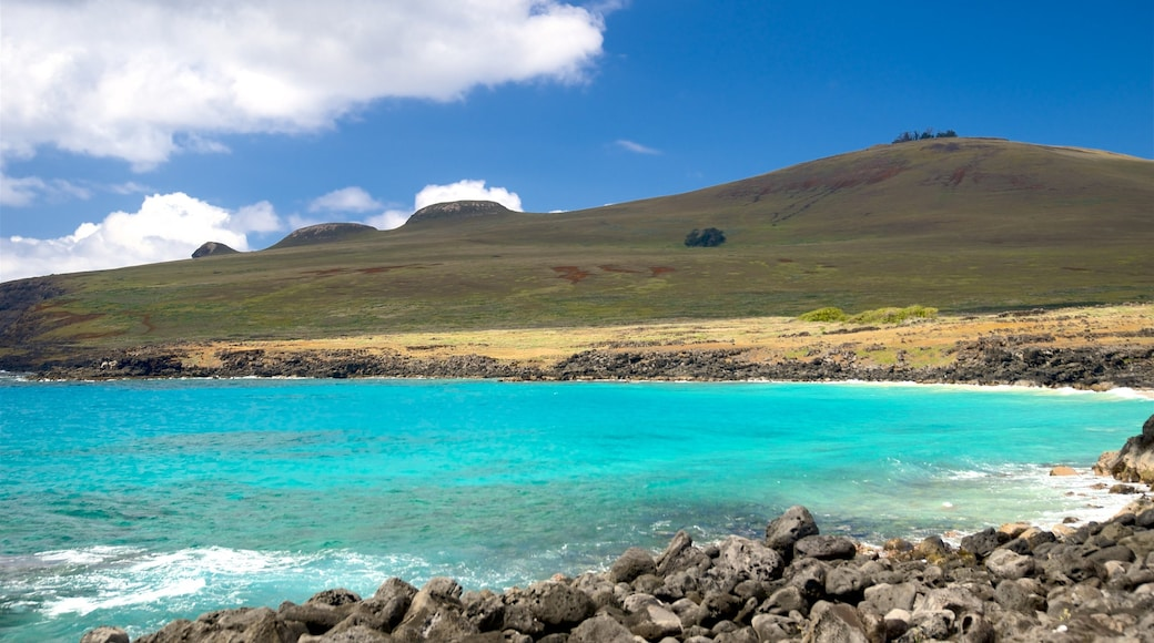 Easter Island featuring general coastal views, mountains and rocky coastline