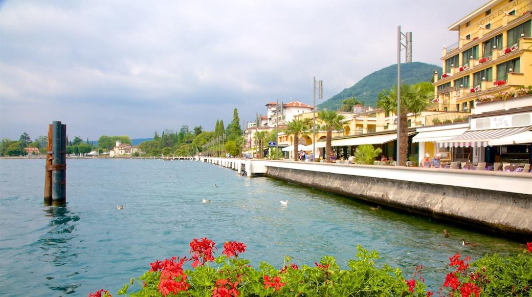 Gardone Riviera qui includes fleurs et baie ou port