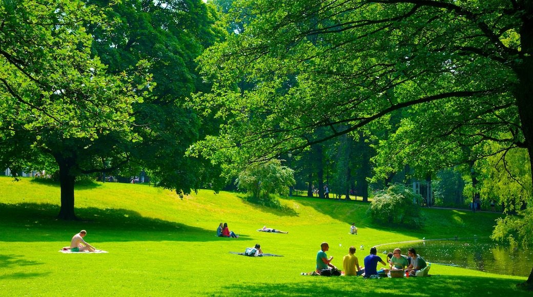Schlosspark welches beinhaltet Picknicken und Park sowie kleine Menschengruppe