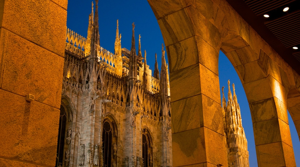 Cathedral of Milan showing night scenes, a church or cathedral and heritage architecture