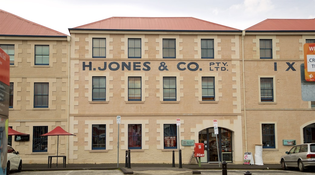 Hobart featuring signage and heritage elements