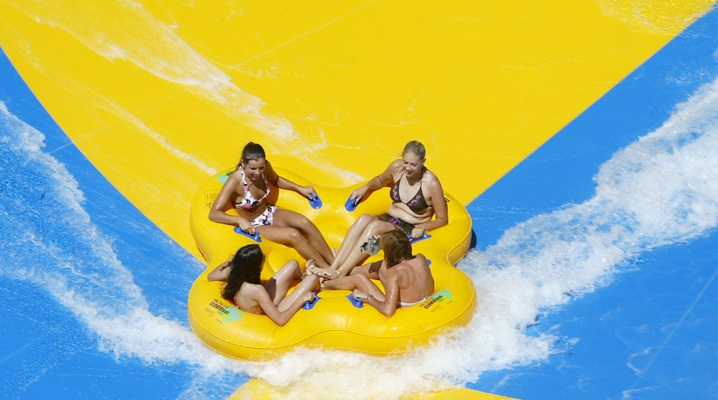 Splashtown which includes a waterpark as well as a small group of people