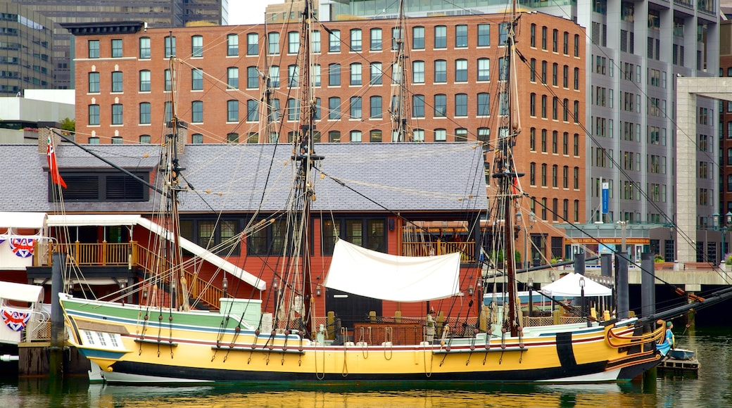 Boston Tea Party Ship which includes a bay or harbour and boating