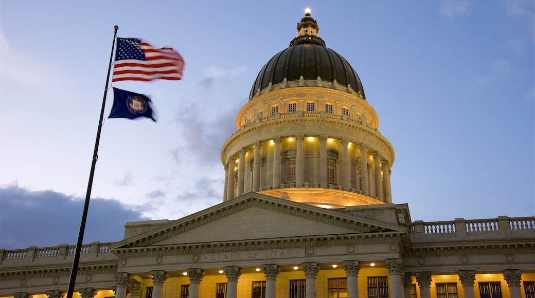 Utah State Capitol showing heritage architecture, an administrative buidling and a sunset