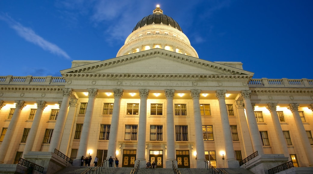 Utah State Capitol which includes an administrative buidling, heritage architecture and night scenes