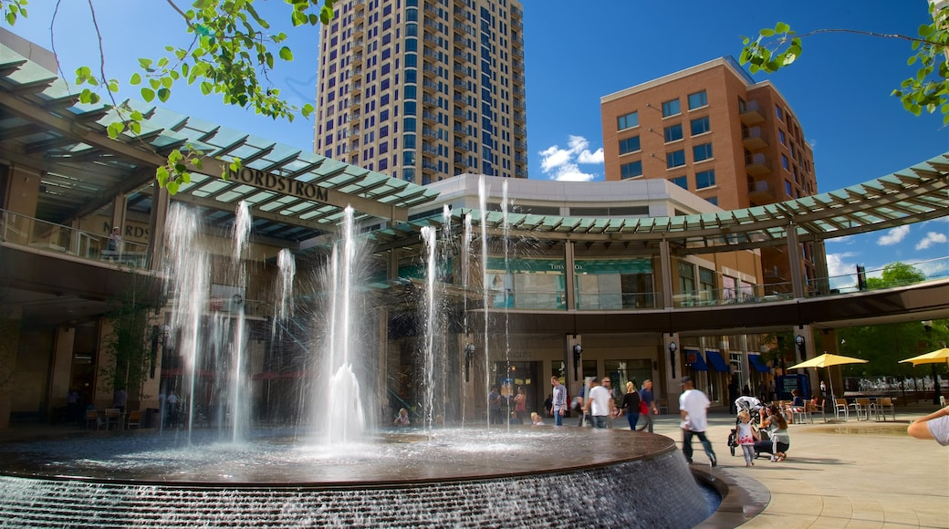City Creek Center which includes modern architecture and a fountain