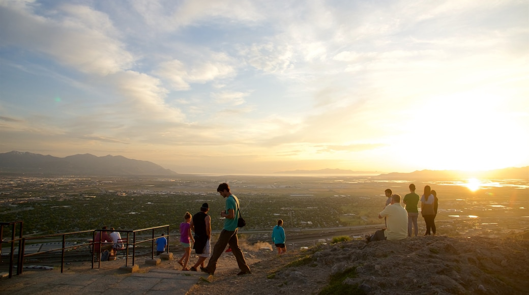 Ensign Peak Nature Park featuring views, tranquil scenes and a sunset