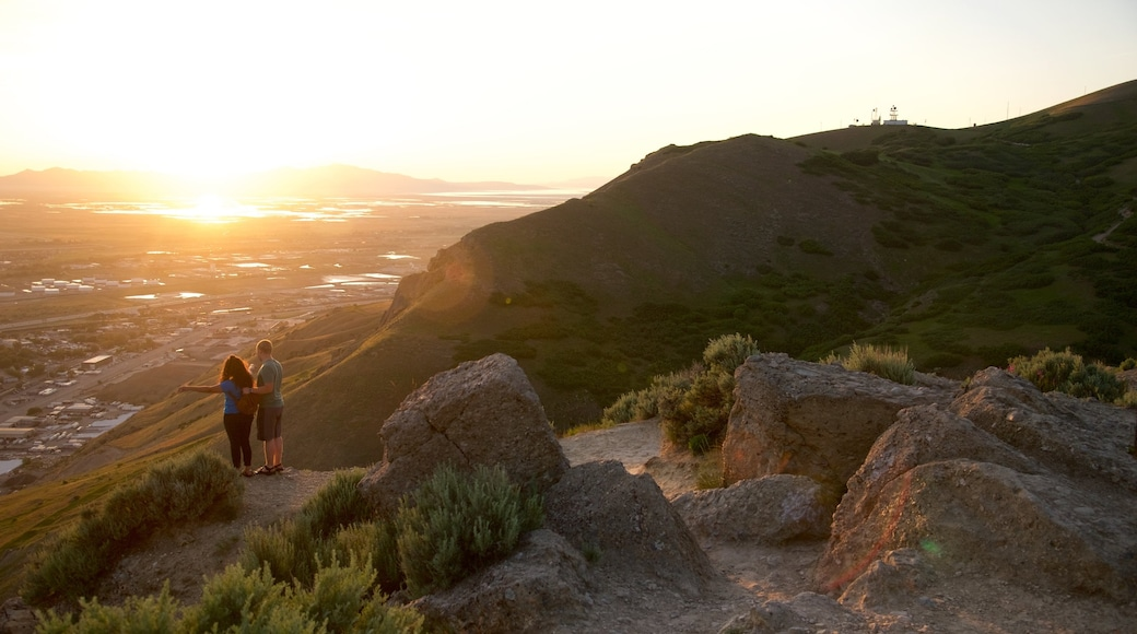Ensign Peak Nature Park showing a sunset, tranquil scenes and views