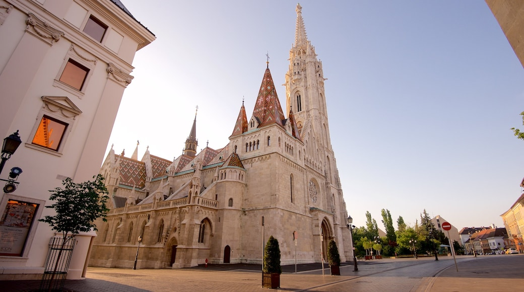 Budapest showing a church or cathedral and heritage architecture