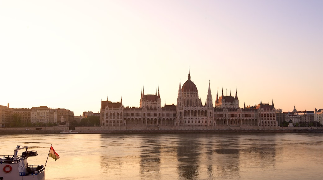 Parliament Building which includes a river or creek, an administrative building and heritage architecture
