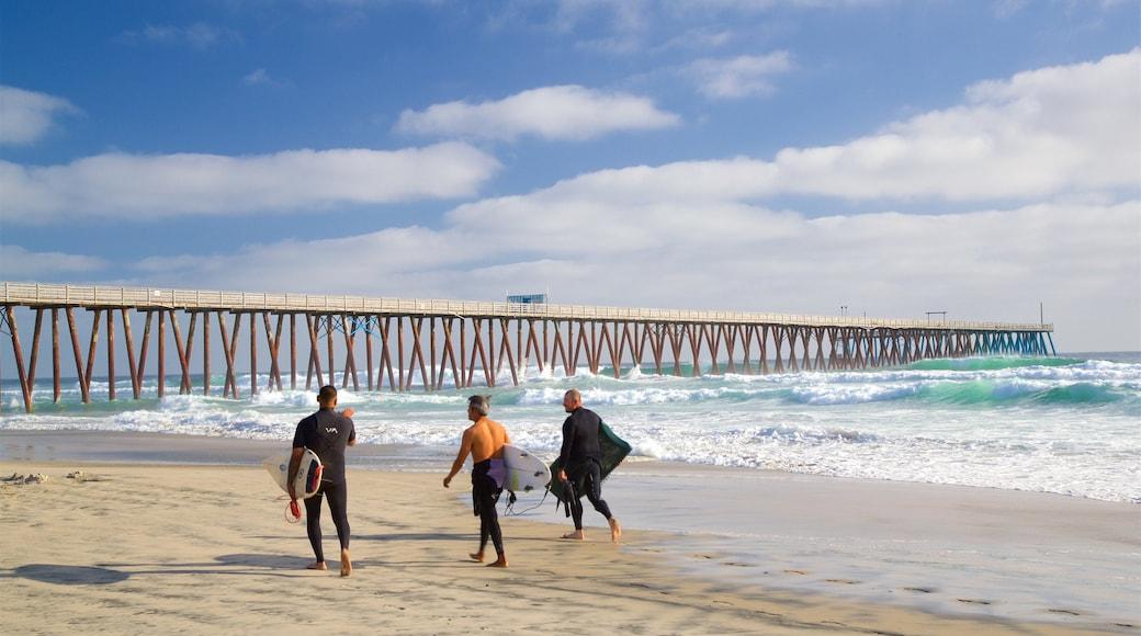 Playas de Rosarito que incluye una playa de arena, vistas generales de la costa y surf