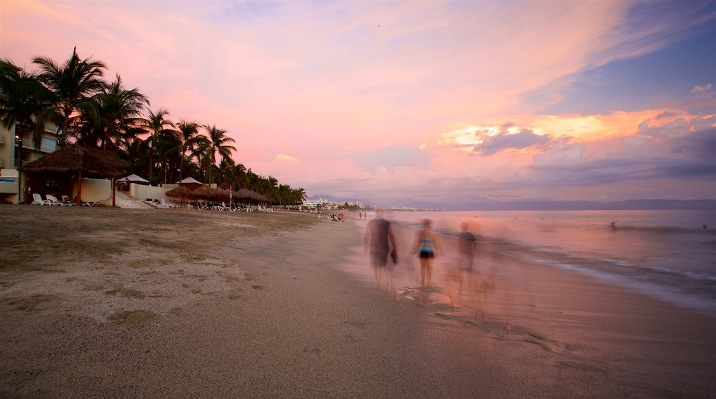 Nuevo Vallarta Beach showing general coastal views, a sandy beach and a sunset