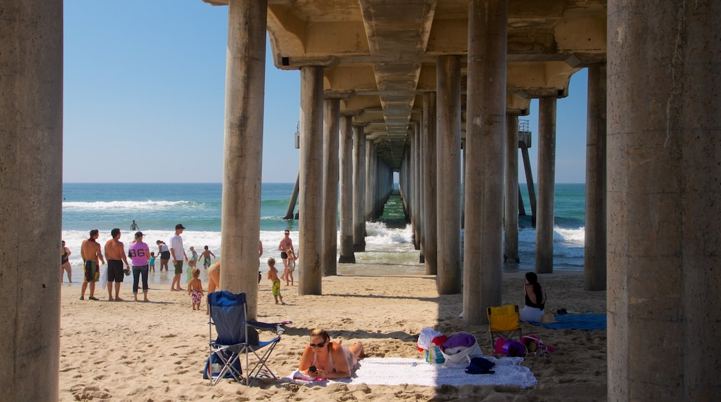Huntington Beach which includes a sandy beach