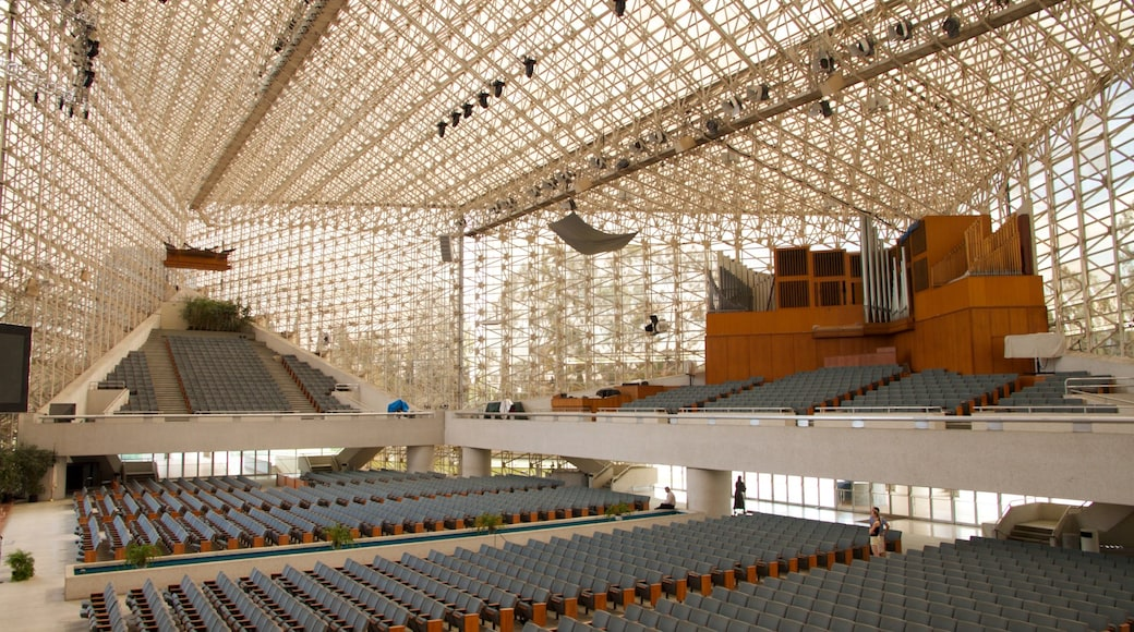 Crystal Cathedral featuring a church or cathedral, religious aspects and interior views