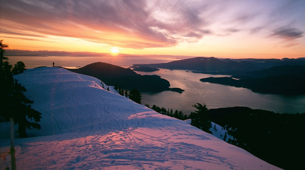 Cypress Mountain featuring landscape views, general coastal views and a sunset