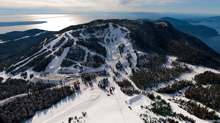 Cypress Mountain showing general coastal views, landscape views and snow