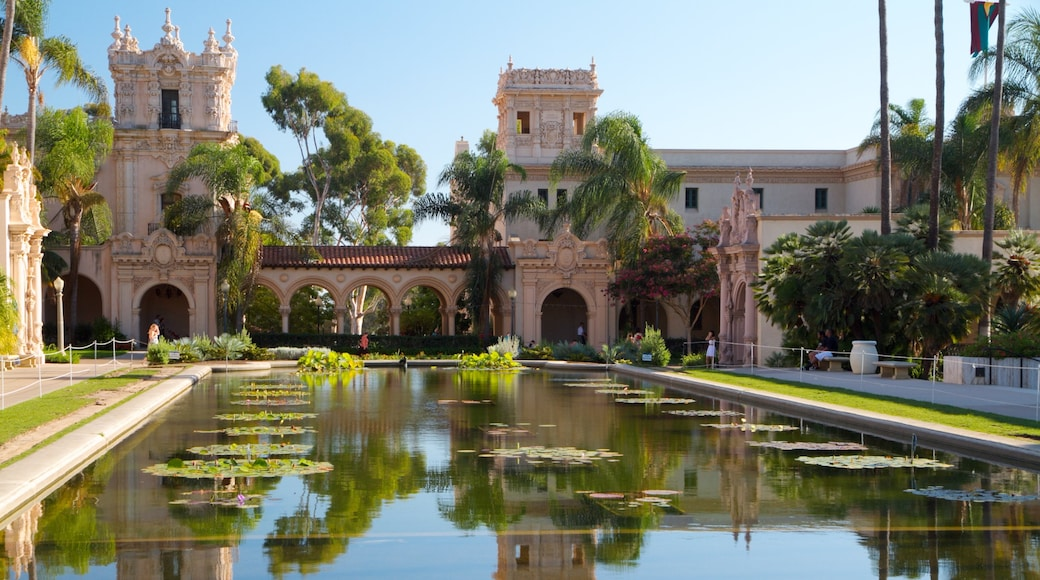 Balboa Park which includes a city, heritage architecture and château or palace