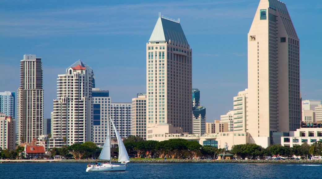 San Diego showing central business district, a skyscraper and sailing