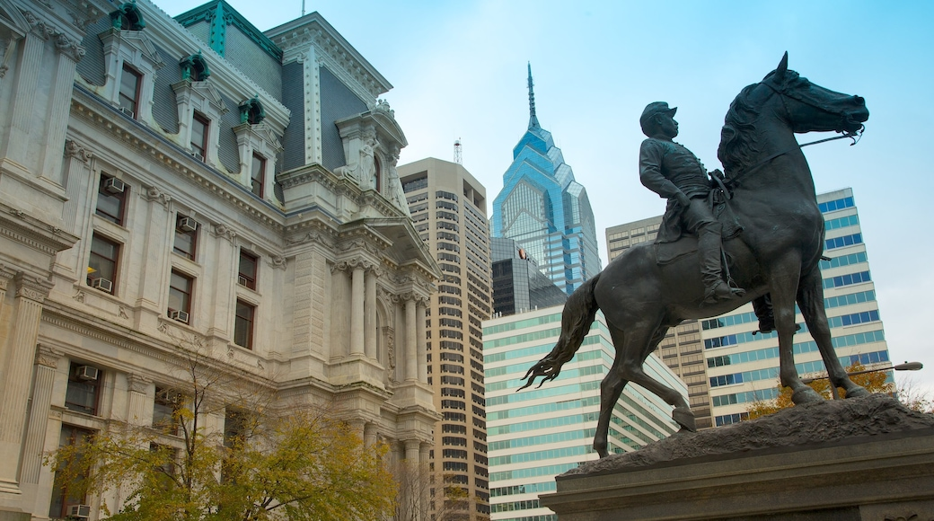 Philadelphia showing a statue or sculpture, a city and central business district