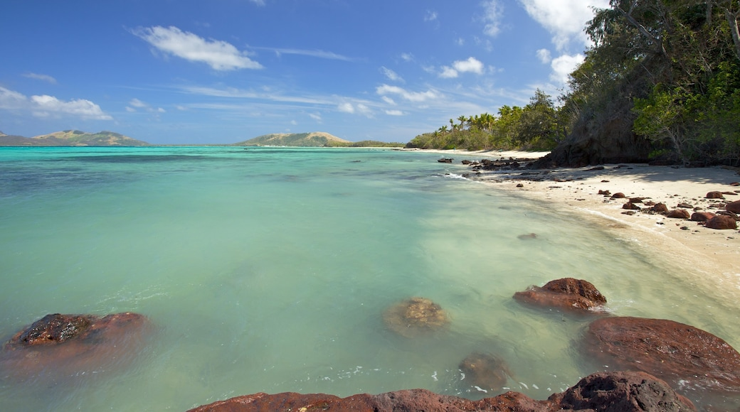 Yasawa Islands which includes a beach, landscape views and tropical scenes