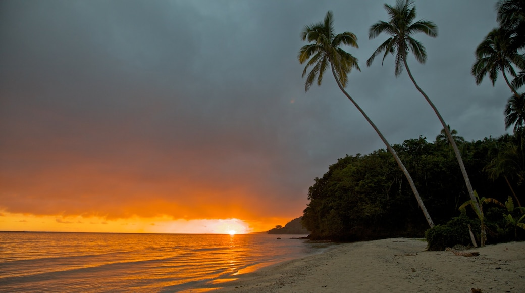 Coral Coast which includes a beach, a sunset and tropical scenes