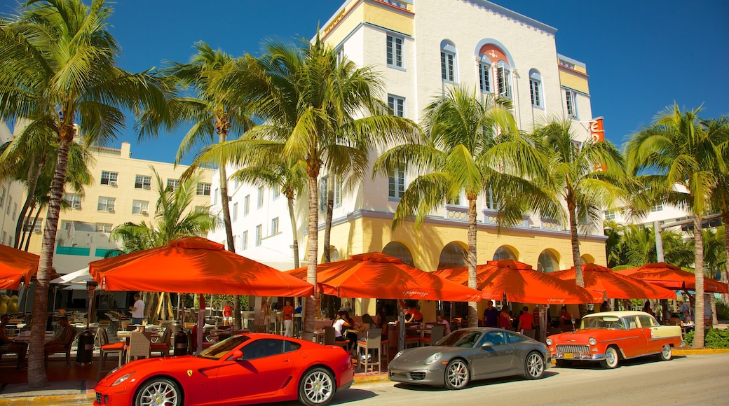 Miami showing outdoor eating, a hotel and street scenes