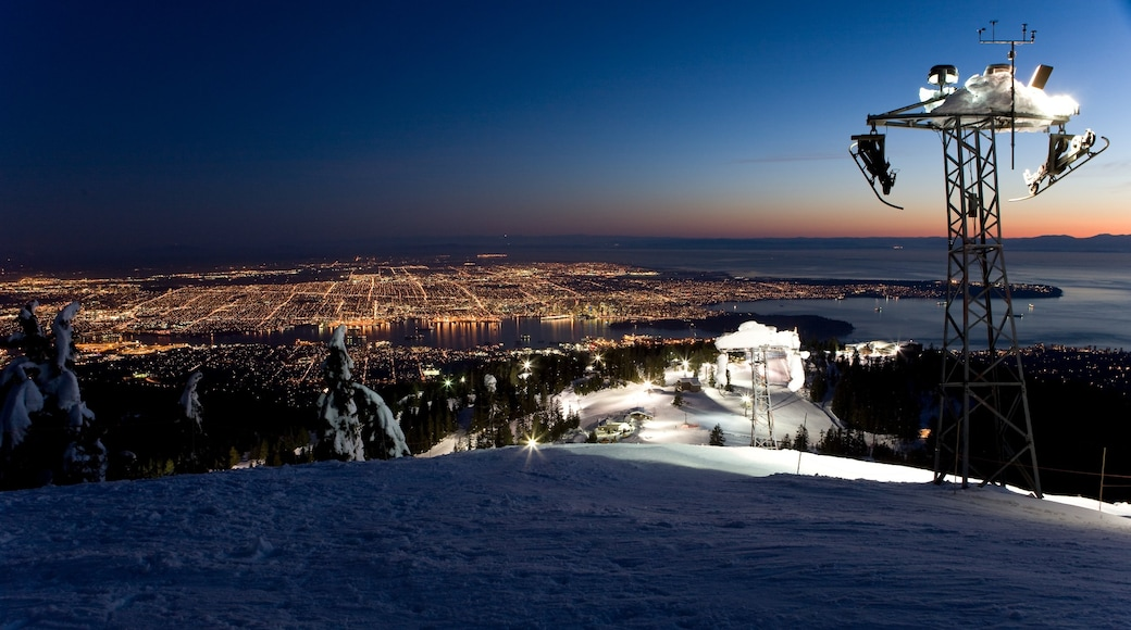 Grouse Mountain featuring mountains, night scenes and landscape views