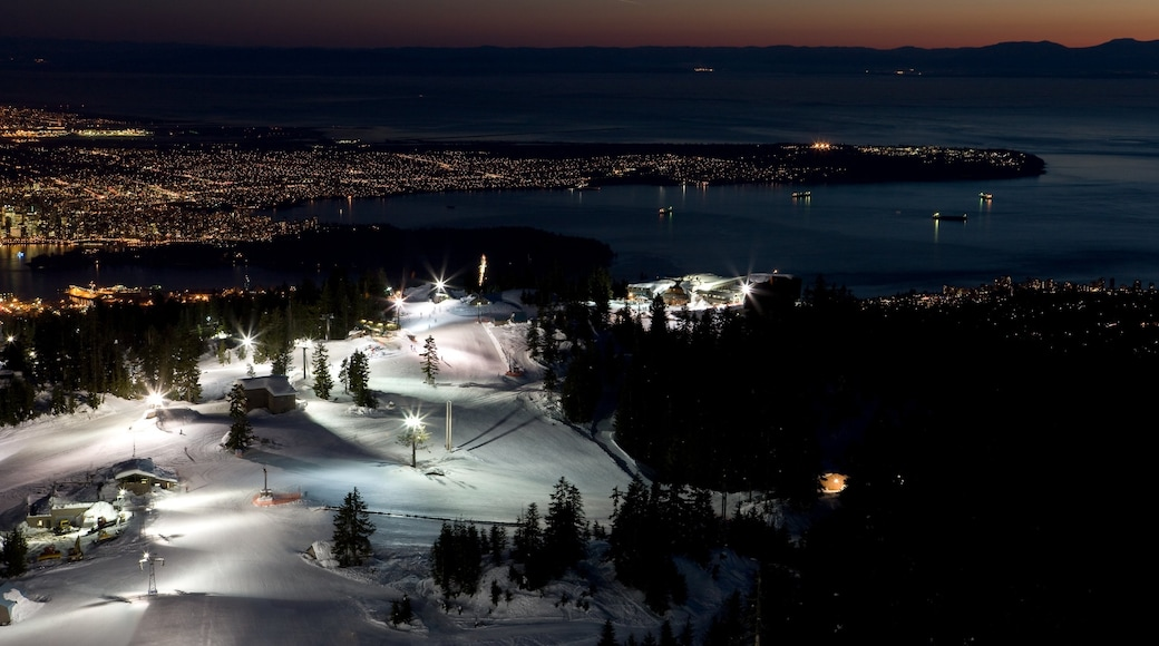 Grouse Mountain showing general coastal views, snow and mountains