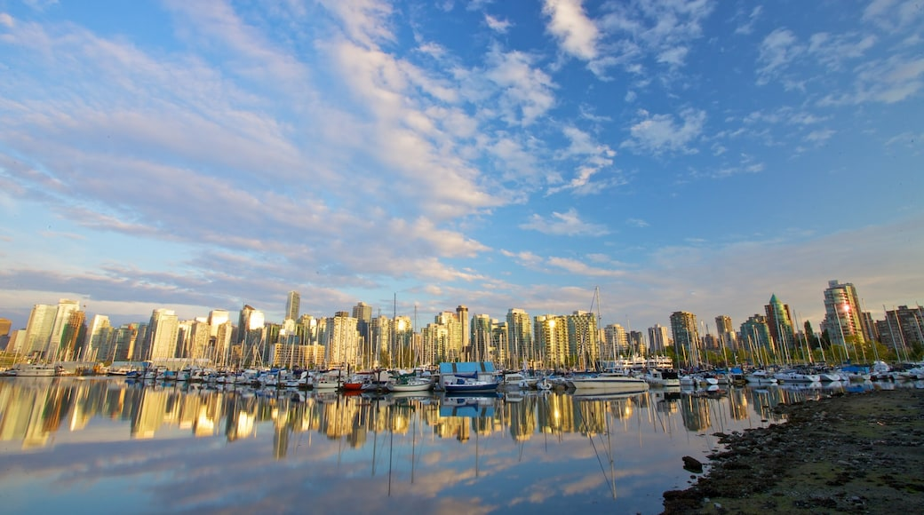 British Columbia featuring central business district, general coastal views and boating