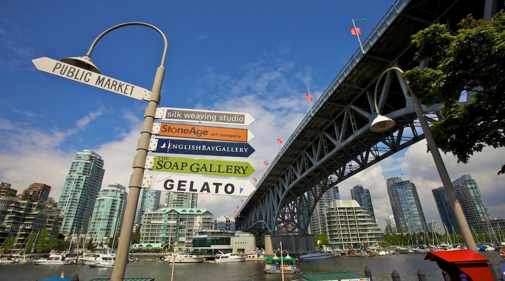 Mercado Público de la Isla Granville mostrando un puente, un rascacielos y imágenes de calles