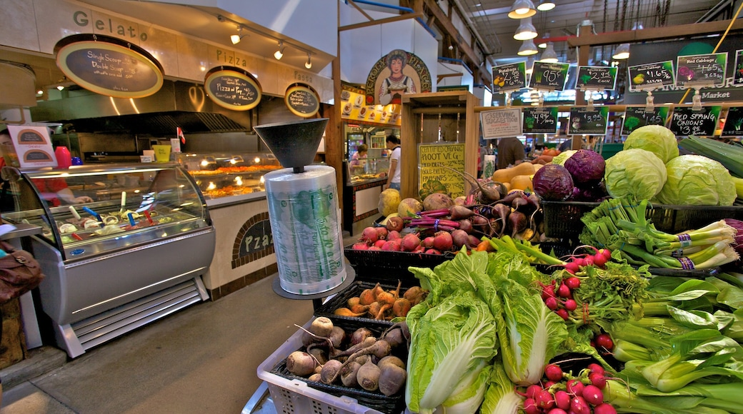 Granville Island Public Market which includes interior views, food and markets