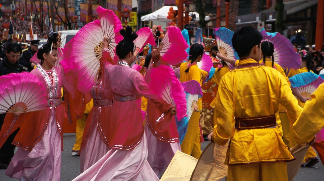 Chinatown featuring a city, street performance and street scenes
