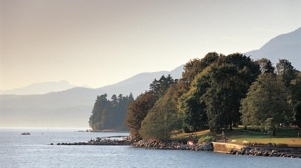 Monumento de piedra de la Bahía Inglesa mostrando vista general a la costa, bosques y vista panorámica