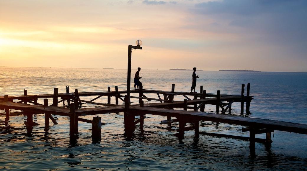 Kepulauan Seribu National Park showing general coastal views and a sunset
