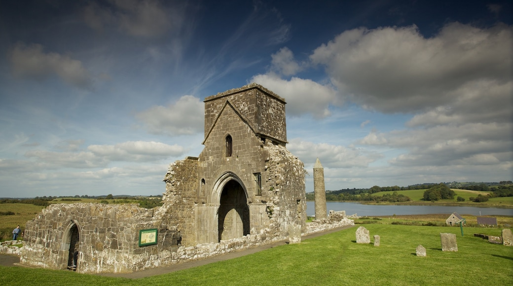 Devenish Island featuring a ruin, a lake or waterhole and heritage elements