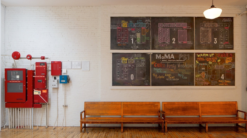 MoMA PS1 featuring heritage elements and interior views