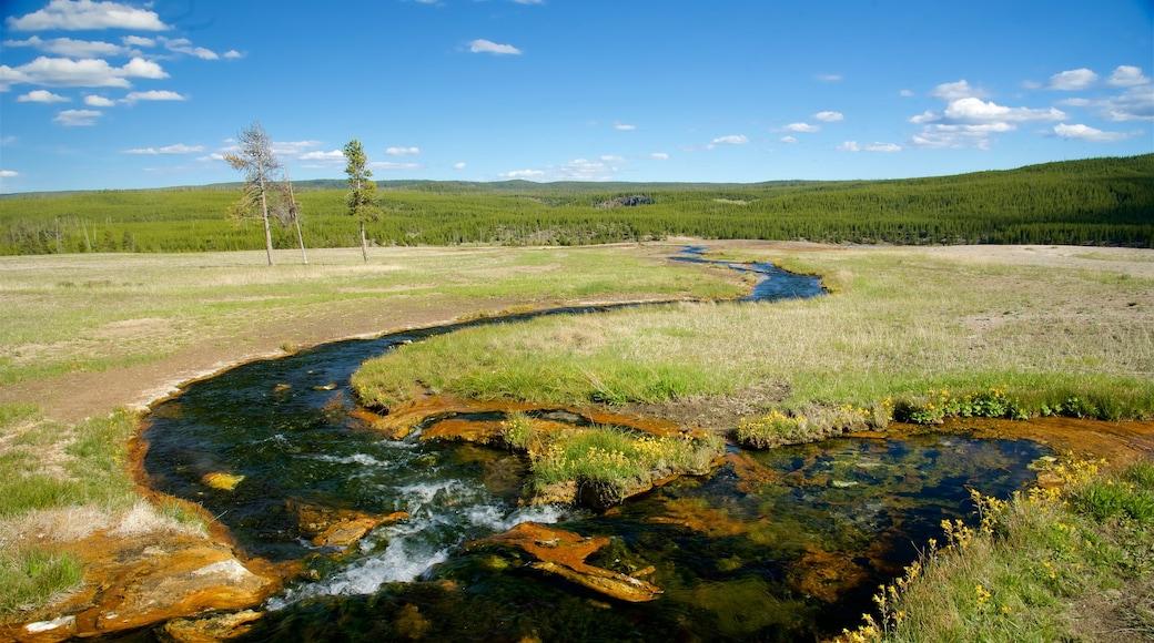 Yellowstone-Nationalpark das einen ruhige Szenerie, Fluss oder Bach und Landschaften