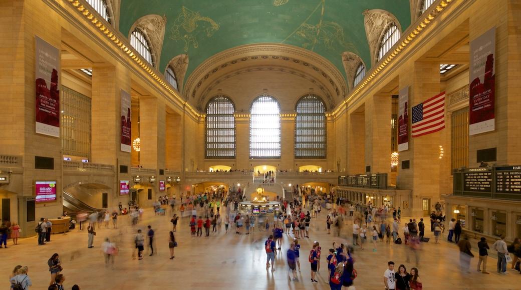 Grand Central Terminal mettant en vedette patrimoine historique et vues intérieures