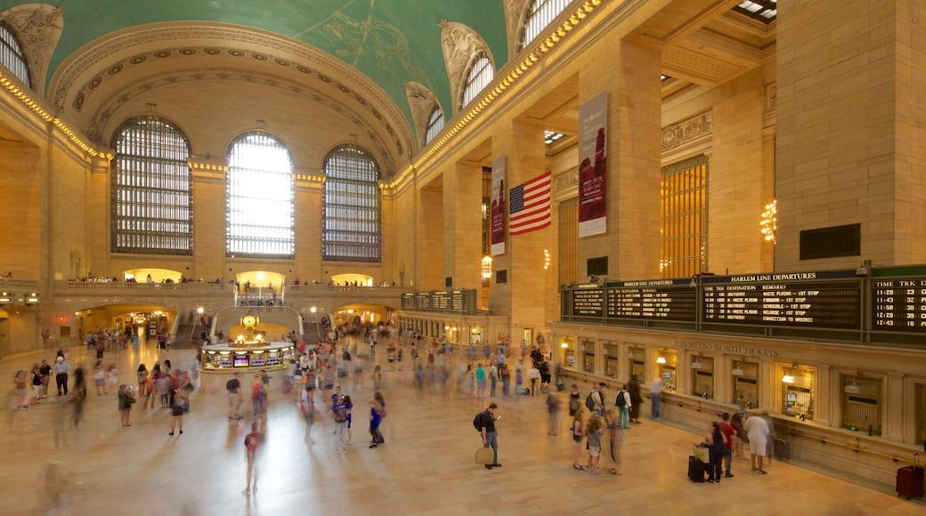 Grand Central jernbanestasjon fasiliteter samt kulturarv og innendørs