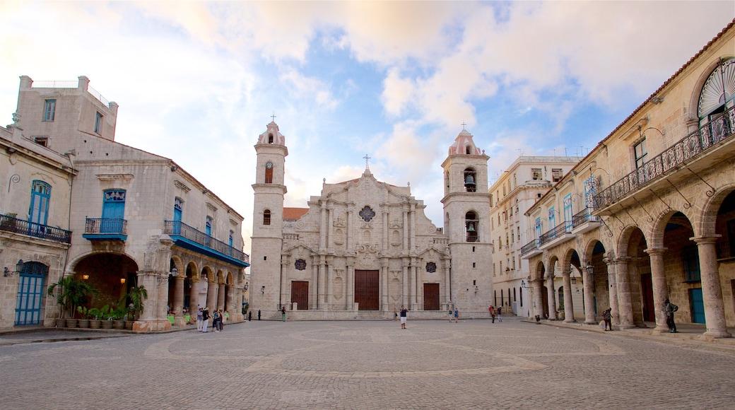 Havana Cathedral welches beinhaltet Platz oder Plaza und Geschichtliches