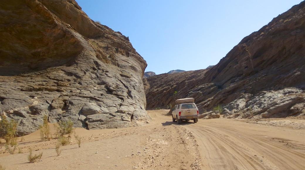 Namibia das einen Wüstenblick, Off-Road-Fahrt und ruhige Szenerie