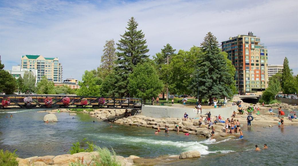 Reno showing a bridge, a garden and a river or creek