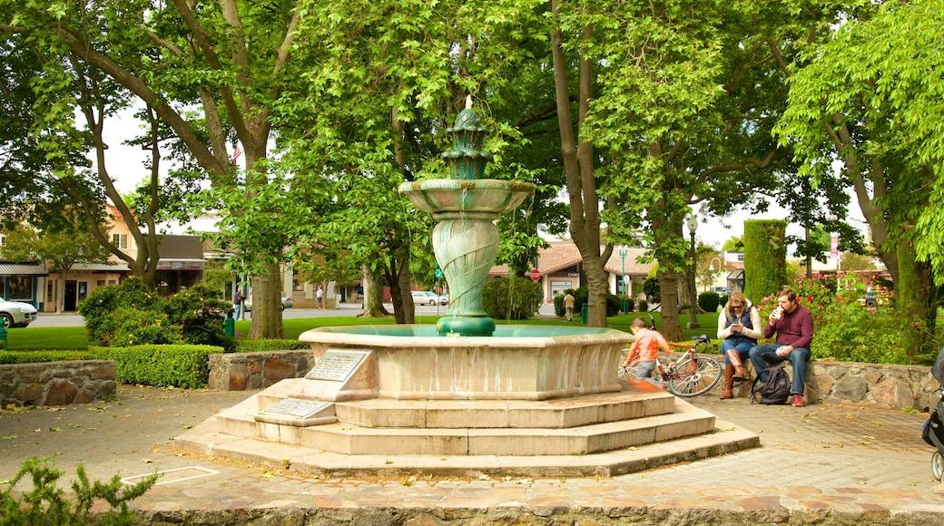 Sonoma Plaza montrant fontaine, patrimoine historique et jardin