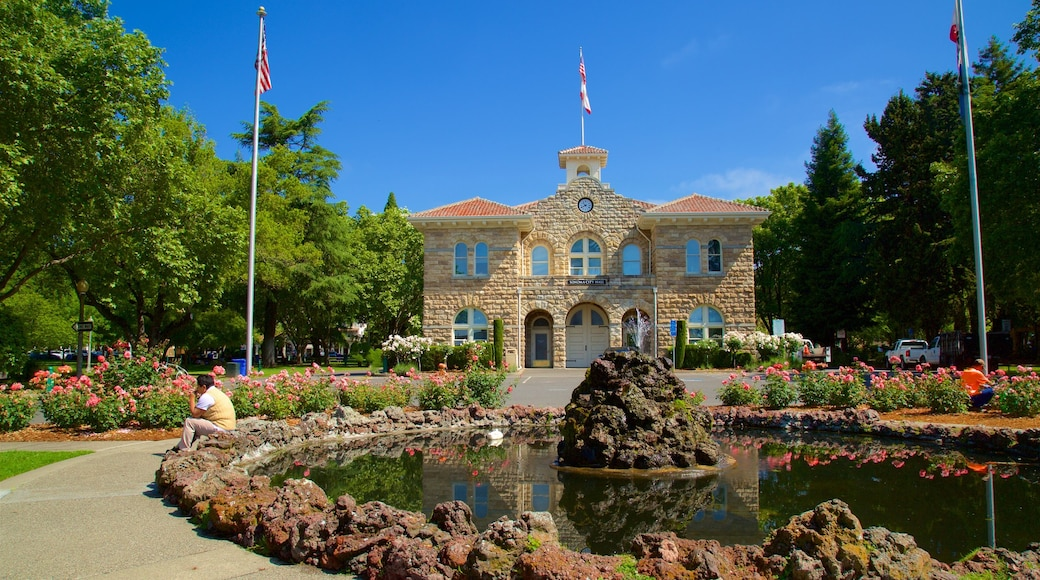 Sonoma Plaza showing a park, heritage elements and a fountain